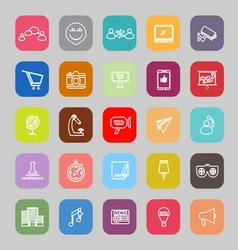 Media marketing line flat icons vector image vector image