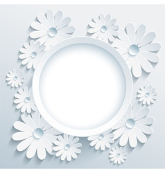 Round frame with 3d white chamomile greeting card vector image vector image