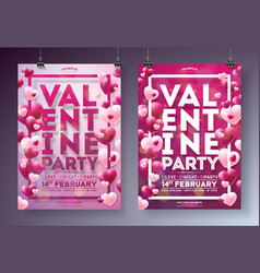 valentines day party flyer with red vector image