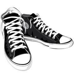 vintage black shoes sneakers vector image vector image