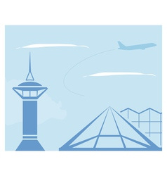 Airport Control tower and terminal building vector image vector image