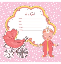 Baby shower card newborn girl with stroller vector