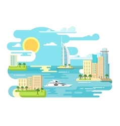 City beach design flat vector image