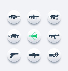 weapons firearms icons set sniper and assault vector image vector image