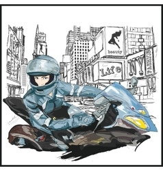 Young sexy fashion woman sitting on motorcycle vector image