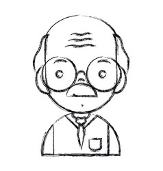 figure old man teacher with glasses and uniform vector image vector image