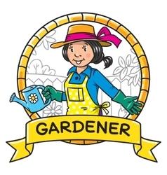 Funny woman gardener emblem profession series vector