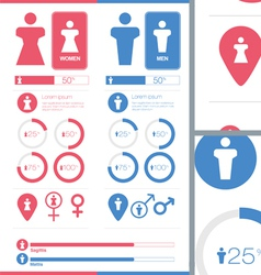 Male Female Gender Signs Set Information Graphics vector image vector image
