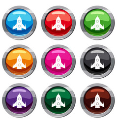 rocket set 9 collection vector image vector image