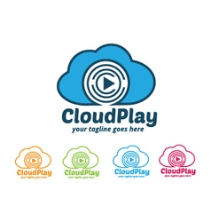 Cloud play logo cloud music logo vector
