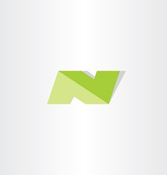 letter n green logo sign element icon vector image