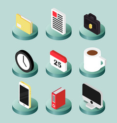office flat isometric icons vector image