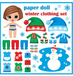 Paper doll with winter clothes set vector image vector image