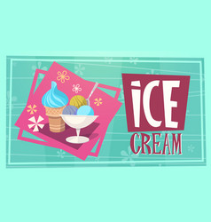 summer time ice cream vacation sea travel retro vector image vector image