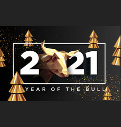2021 banner year bull new year background vector
