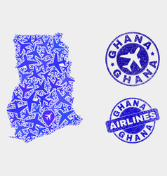 Airplane mosaic ghana map and grunge stamps vector