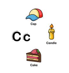 alphabet letter c-cap candle cake vector image