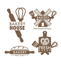 bakery shop isolated icons kitchen tools and bread vector image
