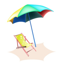 Beach Chair and Colorful Umbrella vector image