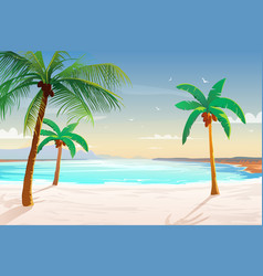 beach with palm trees white sand and turquoise vector image