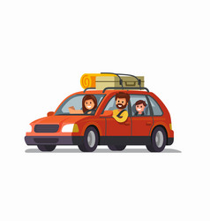 Big family traveling car vector