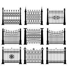 Black and white iron gates and fences architecture vector