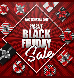 black friday sale banner with different gift boxes vector image