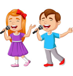 boy and girl singing with microphone vector image