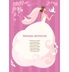 Bride with dove on pink background vector image