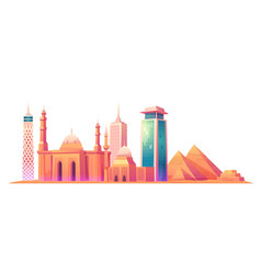 cairo egypt skyline with world famous landmarks vector image