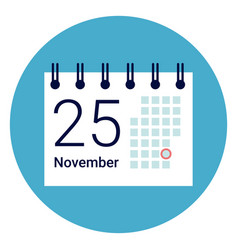 Calender icon on round blue background vector
