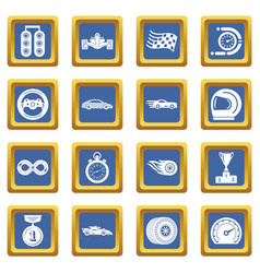 car race icons set blue square vector image