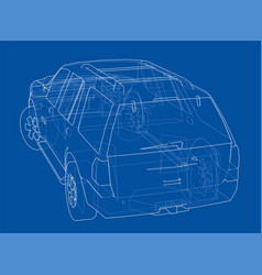 car suv drawing outline vector image