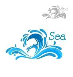 Cartoon blue sea wave splash vector