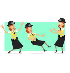 Cartoon flat british police woman character set vector