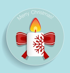 Christmas Greeting Card with candle vector image