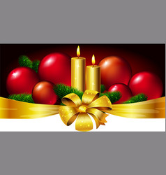 Christmas horizontal design with candle xmas ball vector image