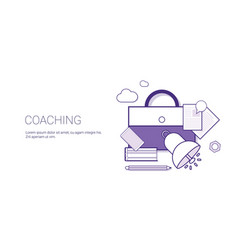 Coaching training business teaching concept banner vector