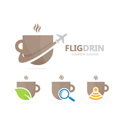 coffee and airplane logo combination vector image