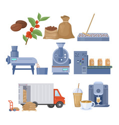 Coffee production set vector
