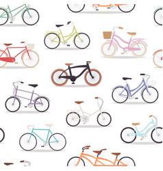 collection realistic bicycles vintage vector image