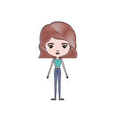 color crayon silhouette caricature skinny woman in vector image