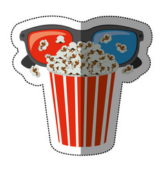 Colorful sticker with popcorn cup and glasses 3d vector