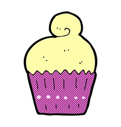 Comic cartoon cupcake vector