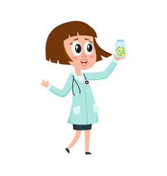 Comic woman doctor character with bob haircut vector