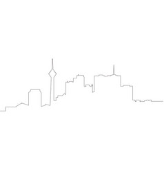 Continous line skyline of tehran vector