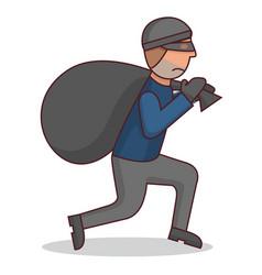 Criminal with stolenthief with a bagcartoon vector