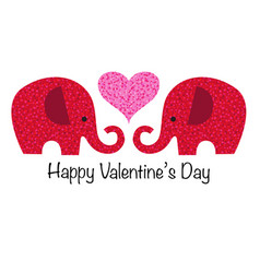 Cute red glitter valentine elephants with heart vector
