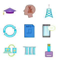 Cybernetic icons set cartoon style vector
