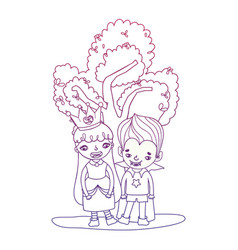 Degraded outline happy girl and boy with funny vector